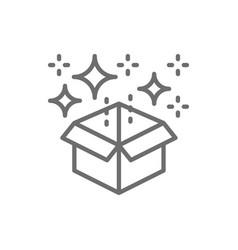 magic box with confetti gift line icon vector image