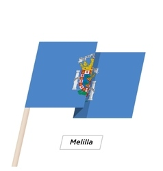 Melilla Ribbon Waving Flag Isolated on White vector