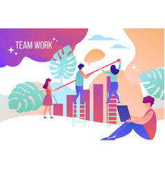 men and women work in teams tiny people vector image