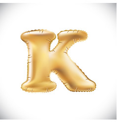 metallic gold k balloons golden letter new year vector image