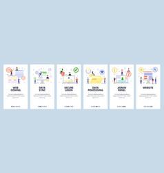Mobile app onboarding screens web coding cyber vector