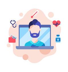 modern telemedicine male doctor giving online vector image