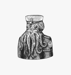 Octopus sailor sea captain fashion animal vector