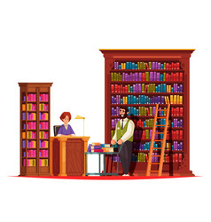 Old library staff composition vector