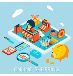 Online shopping on tablet computer vector