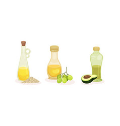 Organic herbal oil poured in glass corked jars vector