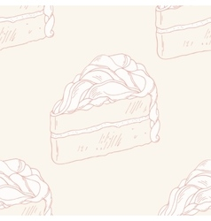 Outline seamless pattern with hand drawn cake vector image