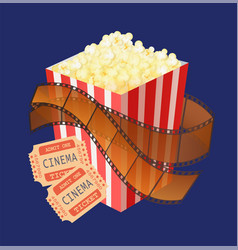 package popcorn snack and cinema tickets vector image