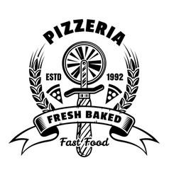 pizzeria emblem badge label or logo in vector image