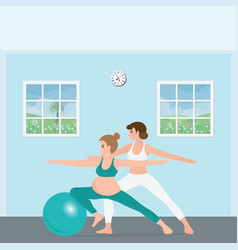 pregnant woman doing yoga with a trainer vector image