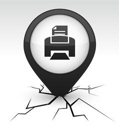 Print black icon in crack vector
