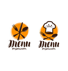 Restaurant menu logo or label cooking cuisine vector