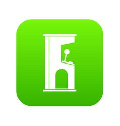 retro style arcade game machine icon digital green vector image