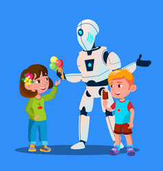 robot offering ice-cream to kids isolated vector image