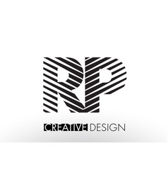 Rp r p lines letter design with creative elegant vector
