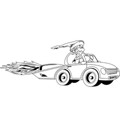 Santa Claus driving car vector