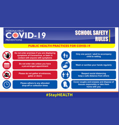 School safety rules poster or public health vector