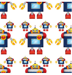Seamless pattern tile cartoon with toy robot vector