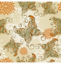 seamless pattern with butterflies and flowers vector image