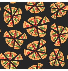 Seamless texture of pattern with margherita pizza vector