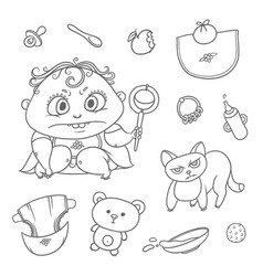 set angry child and cat hygiene items vector image