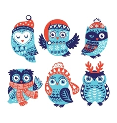 set funny owls for winter design vector image