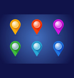 set map pins in different color styles with 3d vector image