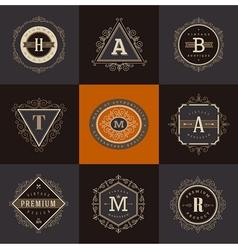 set monogram logo template vector image