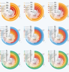 Set of circle informative infographics vector