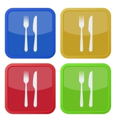 set of four square icons - cutlery fork and knife vector image