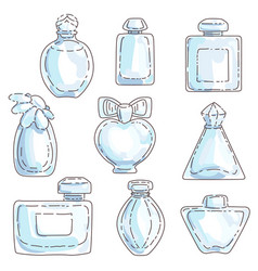 set of perfume in bottles of different shapes with vector image