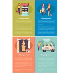shopping women in grocery store poster set vector image