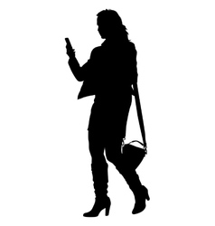 Silhouette young girl with handbag standing vector