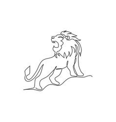 single continuous line drawing elegant lion vector image
