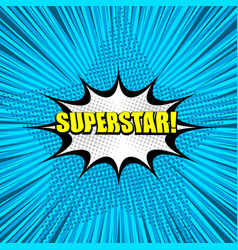 Superstar yellow comic wording background vector