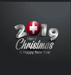 Switzerland flag 2019 merry christmas typography vector