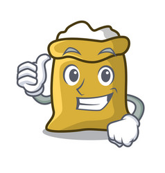 thumbs up flour character cartoon style vector image