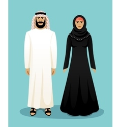Traditional arab clothing Man and woman vector