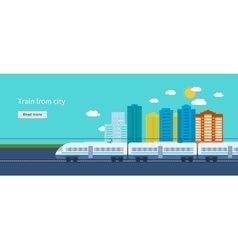 Train on railway with city background vector