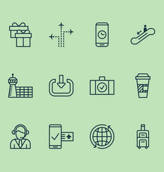 transportation icons set with coffee cup login vector image