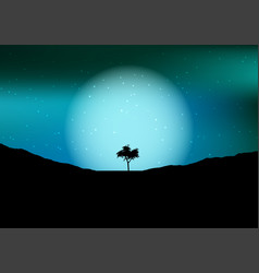 tree silhouette against a night sky vector image