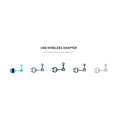 Usb wireless adapter icon in different style two vector