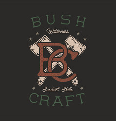 vintage hand drawn adventure logo with axes and vector image