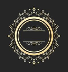 Vintage round gold floral frame Ornate vector
