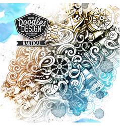 Watercolor graphics doodles nautical artistic vector