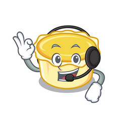 With headphone egg tart mascot cartoon vector
