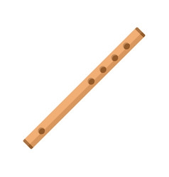 wood flute icon flat style vector image