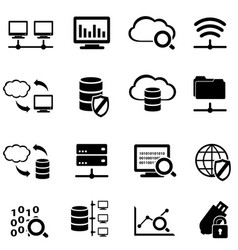 big data and cloud computing icon set vector image vector image
