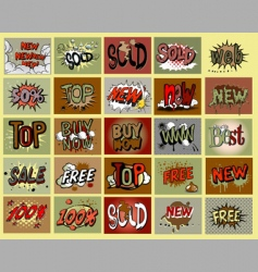 comic book stile stickers vector image vector image