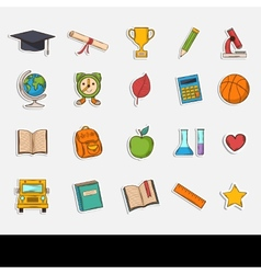 Doodle school icons set vector image